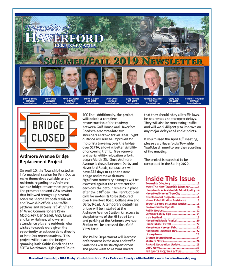 Township of Haverford Summer/Fall 2019 Newsletter