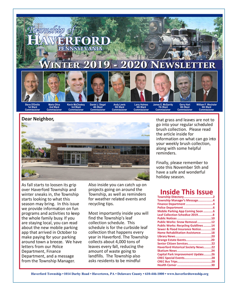 Township of Haverford Winter 2019-2020 Newsletter